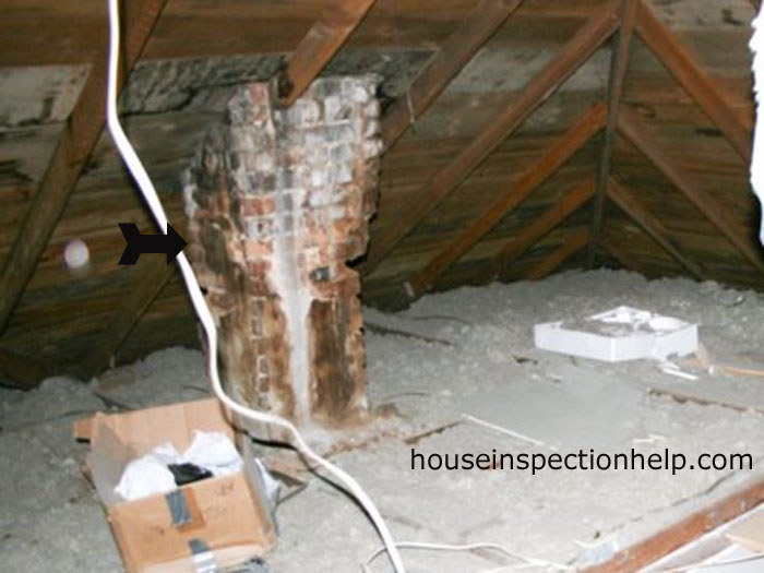 Damaged Chimney In Attic