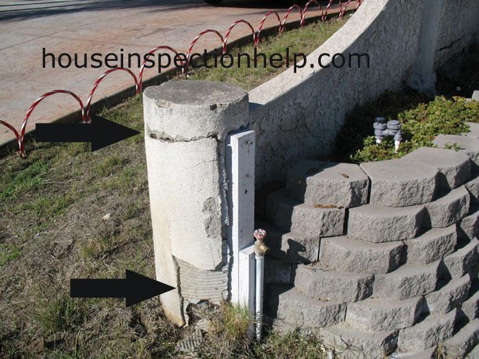 Damaged stucco wall column for Stucco columns
